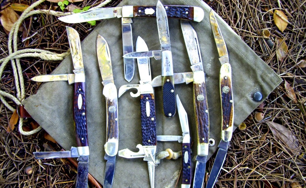 Traditional Pocket Knife Types: (top) Trapper, (left to right) Congress, Canoe, Scout/Camper, Barlow, Peanut, Stockman, Muskrat