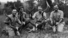 Left to right: Blixen, Unknown, Percival, & Hemingway. Dec. 1933