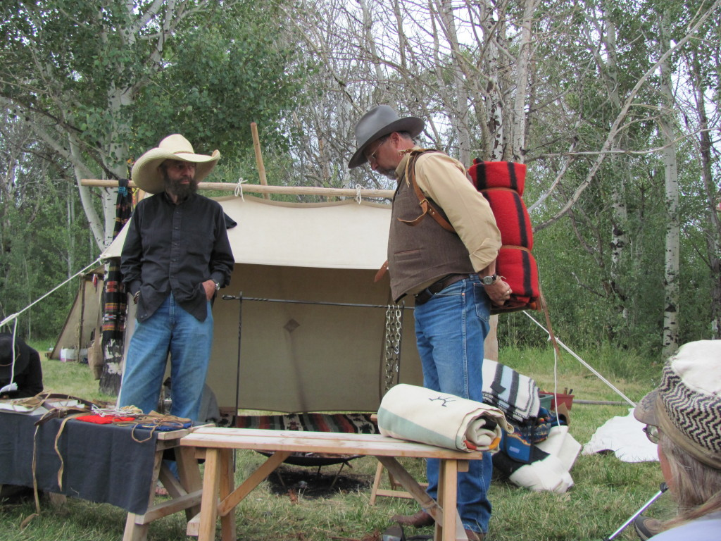 David Wescott (right) giving a lesson on Blanket Tech with Steve Watts.  Rabbitstick 2011.