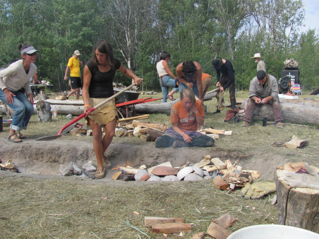 Firing pottery, one of many classes.