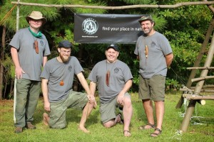 The Master Woodman® Team at Chattahoochee Nature Center Primitive Skills Day.  (left to right) Chuck Winchester, Dusty Rumley, Chris Noble and event organizer Richard Bell.