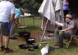 Chuck teaching primitive and classic camping cooking methods.