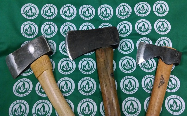 Hatchets left to right.  Vintage Snow & Neally, my father's COMPANION USA-M, Granfors Bruks Mini-Hatchet.