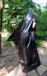 """The more popular """"chocolate chip"""" configuration of a poncho to accommodate a backpack. Arm holes optional."""