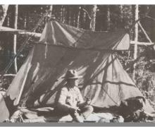 Whelen camping in his Hunter's Lean-to.