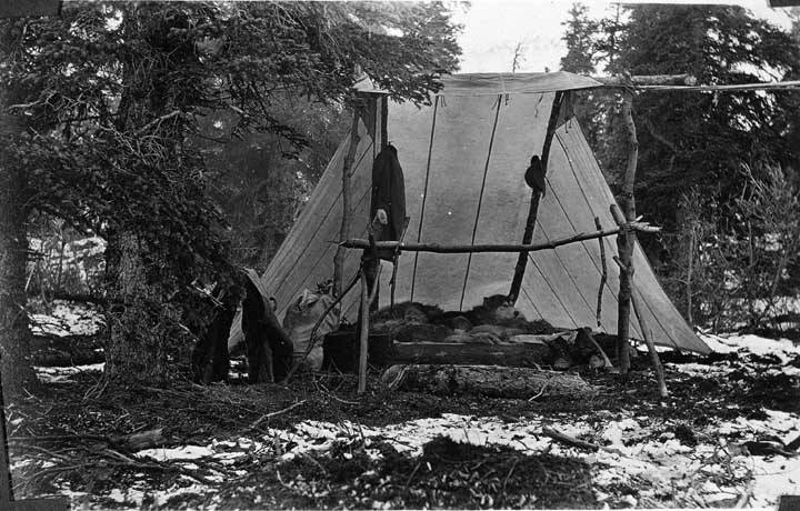 Charles Sheldon's tent, Alaska, 1908. Photo courtesy of Shelburne Museum, Shelburne, Vermont