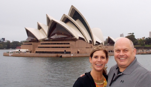 Going by Sydney Opera House on a harbor dinner cruise.  We visited the Opera House earlier, it is huge!