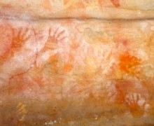 Red Hands Cave.  The first ones started appearing 1,600 years ago.