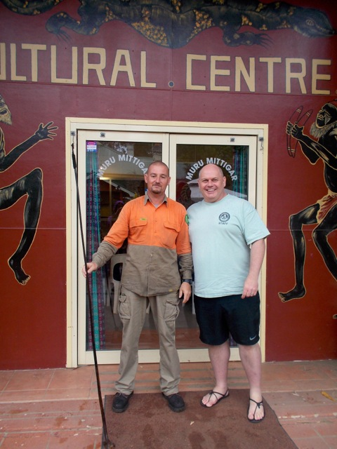 Paul and myself outside the center.  Paul is holding the flower stalk of the grass tree.  The flower stalk was used as a spear.