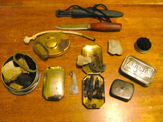 Some of the author's Flint and Steel Kits.