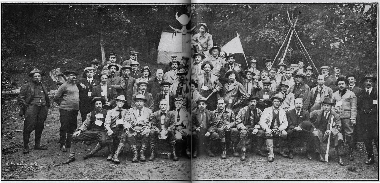 1910 Outing at Ernest Thompson Seton's Wyndygoul in CT.  Some of the names in this picture include Dan Beard, W.T. Hornaday, David Abercrombie, and Edmund Seymour.