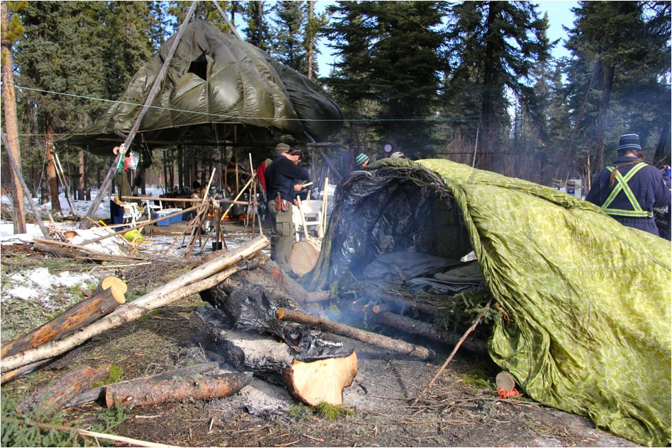 Two-log fire in front of Supershelter.