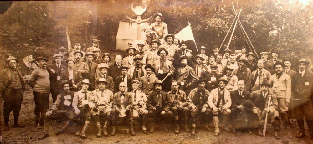 CFCA 1910 Outing at Wyndygoul. Seton is on Medicine Rock with Dan Beard just below.