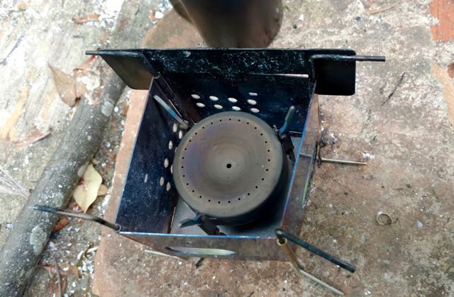 Firebox Nano Stove with alcohol stove nestled in bottom in lieu of using nano sticks.