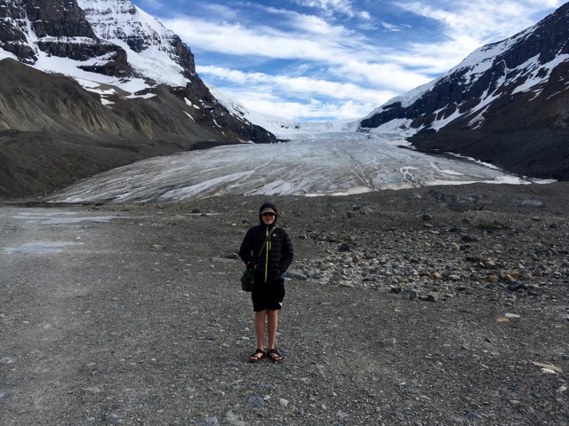 Duncan at a Glacier off the Icefields Parkway.