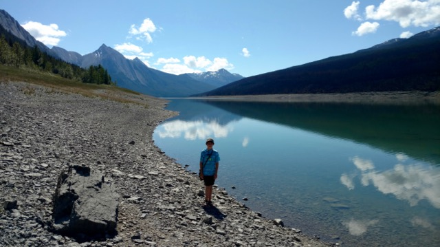 Duncan along upper part of Maligne Lake