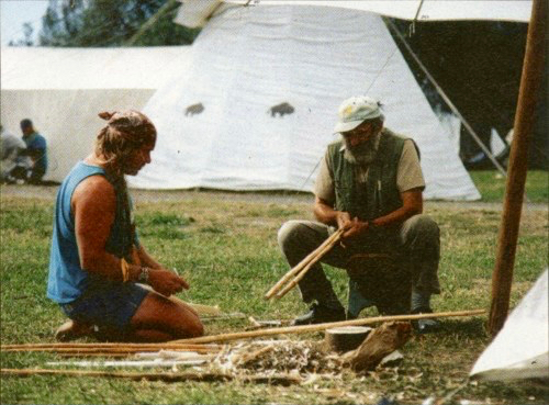Mors Kochanski and a young Cody Lundin at the Rabbitstick Primitive Living Skills Conference in the late 1980's.
